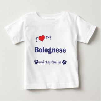 Amo mi boloñés (los perros múltiples) playera de bebé