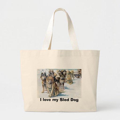Amo mi bolso del perro de trineo bolsa tela grande