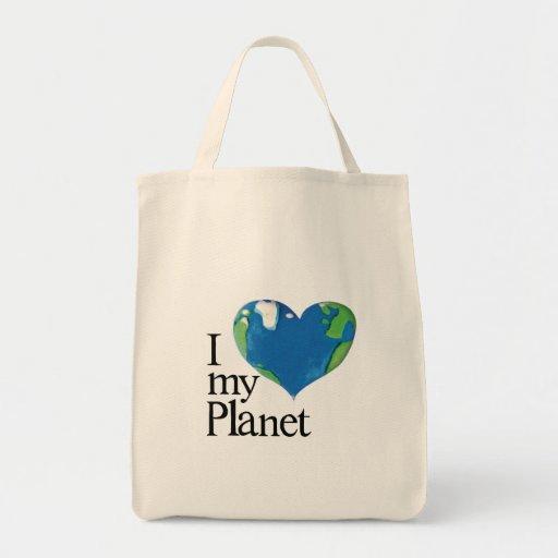 amo mi bolso del planeta bolsa tela para la compra