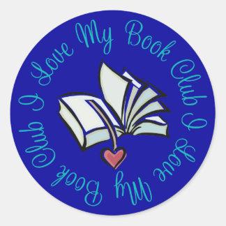 Amo mi Bookclub Pegatina Redonda
