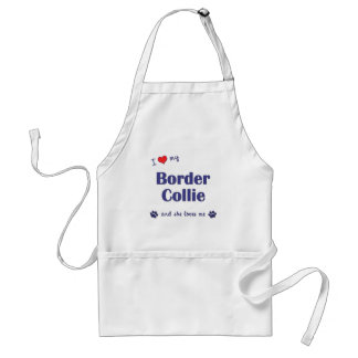 Amo mi border collie (el perro femenino) delantal