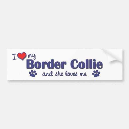 Amo mi border collie (el perro femenino) pegatina para auto