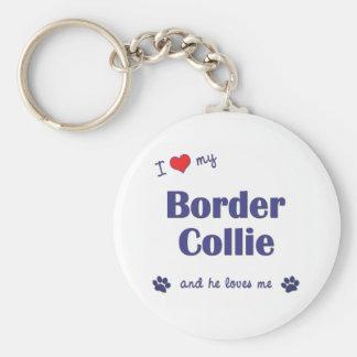 Amo mi border collie (el perro masculino) llavero redondo tipo pin