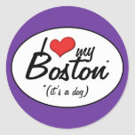 Amo mi Boston (es un perro) Etiqueta Redonda