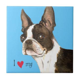 Amo mi Boston Terrier Azulejo Cuadrado Pequeño