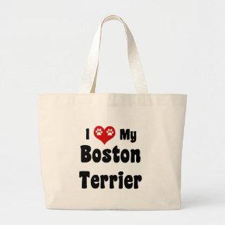 Amo mi Boston Terrier Bolsa Lienzo