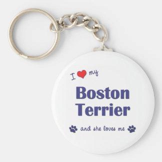 Amo mi Boston Terrier (el perro femenino) Llavero Redondo Tipo Pin