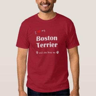 Amo mi Boston Terrier (el perro femenino) Poleras