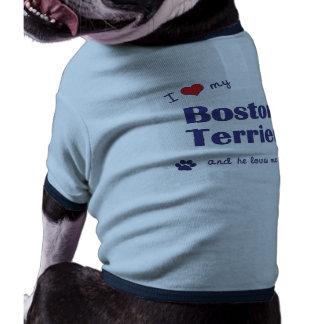 Amo mi Boston Terrier el perro masculino Camisas De Mascota