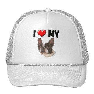 Amo mi Boston Terrier Gorros Bordados