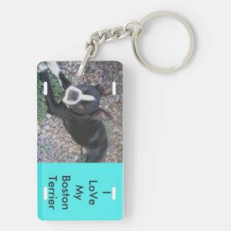 Amo mi Boston Terrier Llavero Rectangular Acrílico A Doble Cara