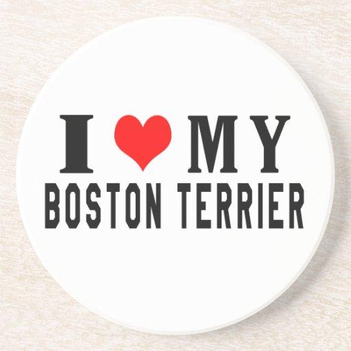 Amo mi Boston Terrier Posavasos Diseño