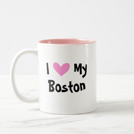Amo mi Boston Terrier Taza Dos Tonos