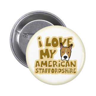 Amo mi botón americano de Staffordshire Pin