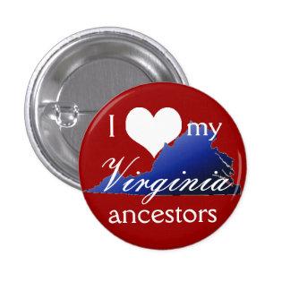 Amo mi botón de los antepasados de Virginia Pin Redondo De 1 Pulgada