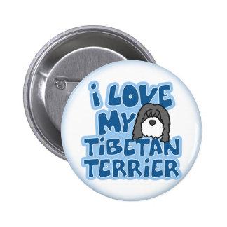Amo mi botón de Terrier tibetano Pin Redondo De 2 Pulgadas