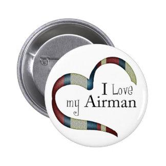 Amo mi botón del aviador pin redondo de 2 pulgadas