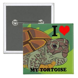 Amo mi botón del cuadrado de la tortuga pin cuadrado