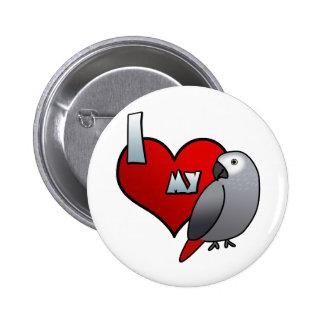 Amo mi botón del gris africano de Congo
