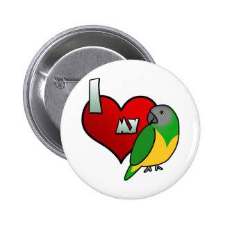 Amo mi botón del loro de Senegal Pin