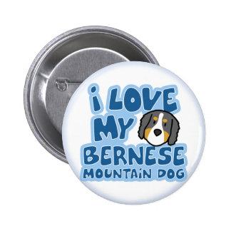 Amo mi botón del perro de montaña de Bernese