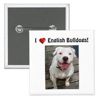Amo mi botón inglés del dogo pin cuadrado