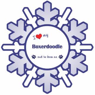 Amo mi Boxerdoodle (el perro masculino) Adorno Fotoescultura