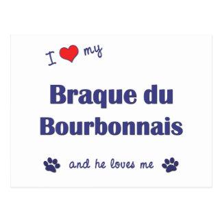 Amo mi Braque du Borbonés (el perro masculino) Postales