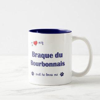 Amo mi Braque du Borbonés (el perro masculino) Taza De Café De Dos Colores