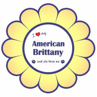 Amo mi Bretaña americana (el perro femenino) Adorno Fotoescultura