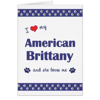 Amo mi Bretaña americana (el perro femenino) Tarjeta Pequeña