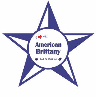 Amo mi Bretaña americana (el perro masculino) Adorno Fotoescultura