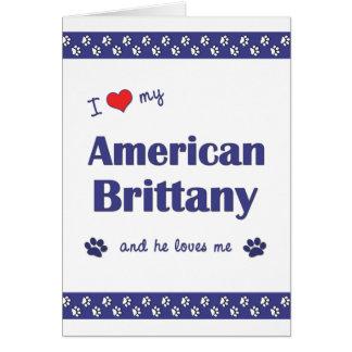 Amo mi Bretaña americana (el perro masculino) Tarjeta Pequeña