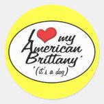 Amo mi Bretaña americana (es un perro) Etiqueta