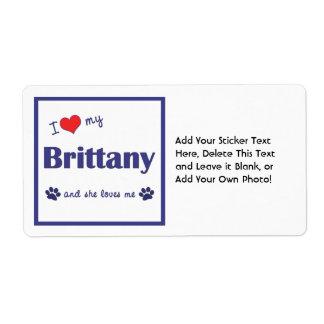 Amo mi Bretaña (el perro femenino) Etiqueta De Envío