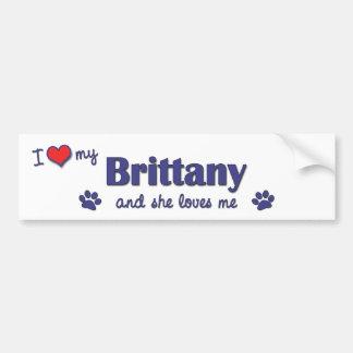 Amo mi Bretaña (el perro femenino) Pegatina Para Auto
