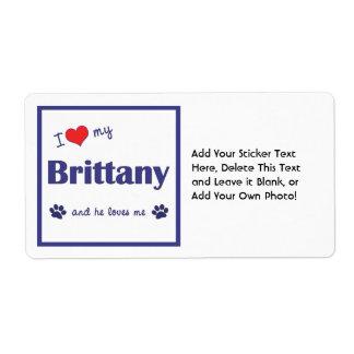 Amo mi Bretaña (el perro masculino) Etiqueta De Envío