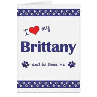 Amo mi Bretaña (el perro masculino) Tarjeta Pequeña