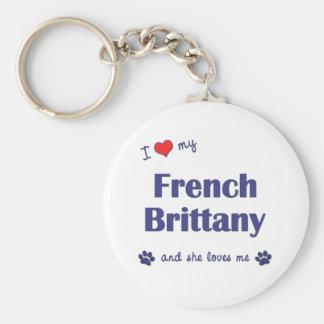Amo mi Bretaña francesa (el perro femenino) Llavero Redondo Tipo Pin