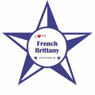 Amo mi Bretaña francesa (el perro masculino) Adorno Fotoescultura