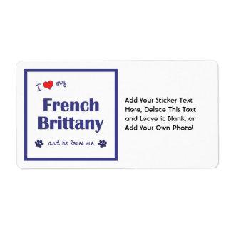 Amo mi Bretaña francesa (el perro masculino) Etiquetas De Envío