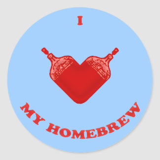 Amo mi brew casero pegatina redonda