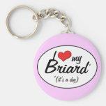 Amo mi Briard (es un perro) Llavero Redondo Tipo Pin