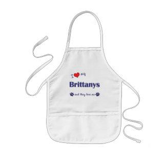 Amo mi Brittanys (los perros múltiples) Delantal Infantil