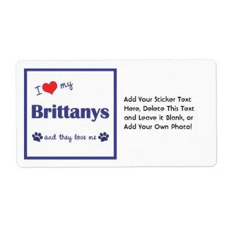 Amo mi Brittanys (los perros múltiples) Etiquetas De Envío