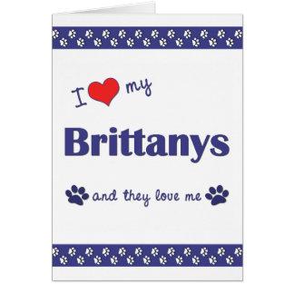 Amo mi Brittanys (los perros múltiples) Tarjeta Pequeña