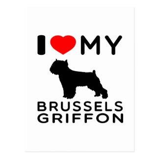 Amo mi Bruselas Griffon Tarjeta Postal