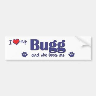 Amo mi Bugg (el perro femenino) Pegatina Para Auto