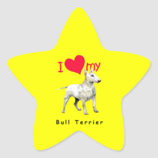 Amo mi bull terrier calcomanía forma de estrellae
