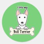 Amo mi bull terrier pegatina redonda